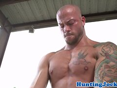 Ripped tattooed jock sucks and fucks farmboy