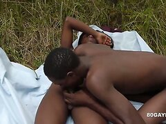 3 Black African Twinks Barebacking