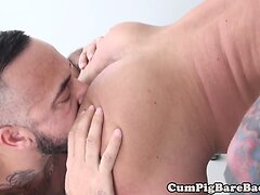 Tattooed muscle bear barebacking after rimjob
