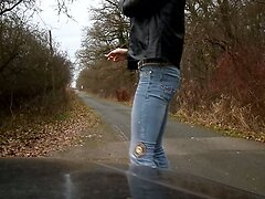sandralein33 walking on Street in Blue Jeans