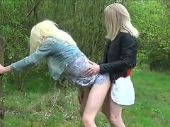Horny Crossdress Whores Fucking in the Woods