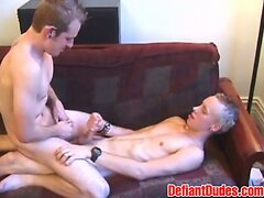 Sensual dudes Torque and Roar start making out before sex