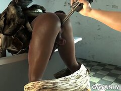 3D ebony soldier gets his cock sucked