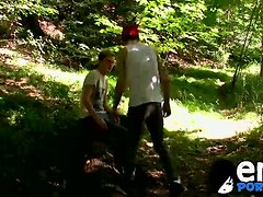 Cute emos Skylar and Jesse share anal passion in a wood