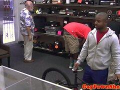 Fooled pawnshop customer being spitroasted