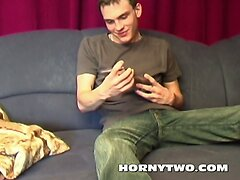 Young nice looking handsome gay brother wanking hard his