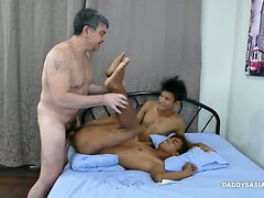Daddy and Asian Boys Raw Threesome