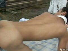 Young studs barebacking outdoors