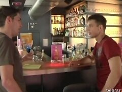 Young guys have gay sex on a bar top