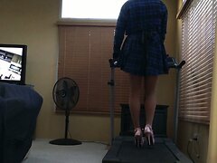 Trans Girl Exercise in Sky High Heels