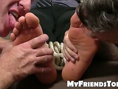 Muscular business man Kenny gets tied up and toes licked