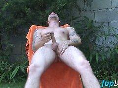 Bald nancy boy strokes his shaved shaft