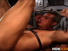 Leather group fist asses