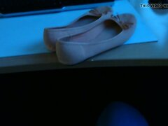Fuck and cum on colleagues ballerinas in office
