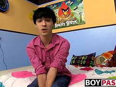 Horny emo twink interviewed on cam then jerks off