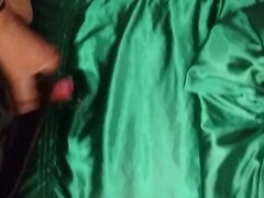 Fucking and Cumming on green Satin top