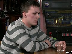 First gay blowjob and sex in the bar