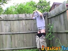 Horny tattooed thug Lex is getting his cock out in a yard