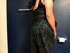 small cock in shiny green club dress