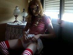 Zentai lori crossdresser in Mickey panties