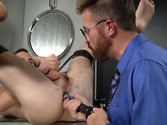 Club Inferno Dungeon Dildo Doctor Shoves it in Hairy Ass