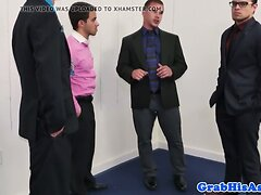 Threeway office cocksucker rides boss cock