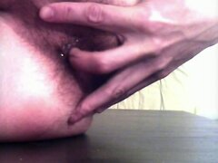Condom self creampie buttplug