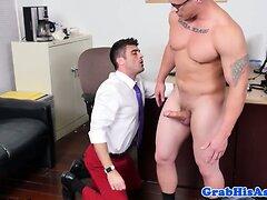 Threeway stripper jizzed by office jocks