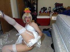 Hard Dildo Fuck & Cum Eating for Slut CD Sissy Bride