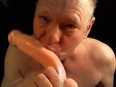 Daddy sucking creamy dildo