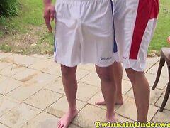 Cocksucking twunk jocks in shorts jerking off