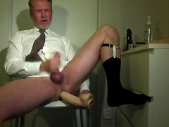 Your horny daddy cumming in front of cam with huge dildo