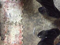long boots masturbates