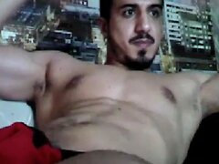 Handsome muscled Arab macho fucker jerking off - Arab Gay