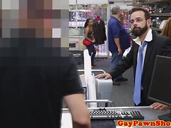 Bearded pawner fucking broker in his ass