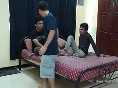 Asian Twink Gay Bareback Threesome Sex Orgy