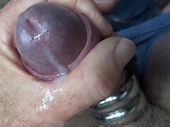 Triple steel cock ring wank slow motion