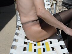 Sun Tanning In Stockings Over Pantyhose