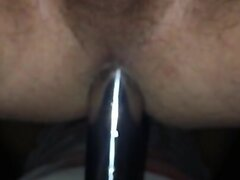 Fucked by my wife with aluminium strapon