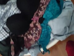 Morning cum on housemate Jess's sexy lace bras.
