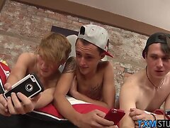 Horny twinks in a threesome of cock sucking and ass fucking