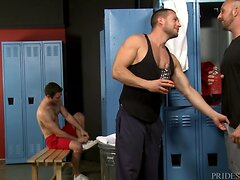 Couple Initiates Steamy 3Way in the Locker Room