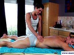 Buff jock massaged before anal fucking
