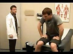 Lecherous gay doctor examines the patient's body