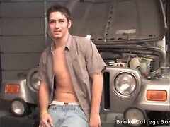 Fixing his car and stripping