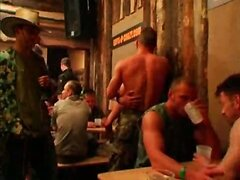 Military guys at bar have orgy