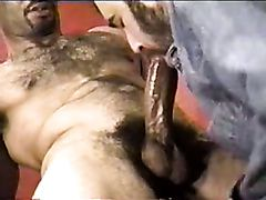 Cuban gay bear works out a huge dick of his lover