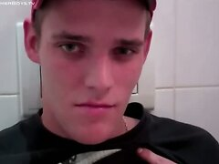 Twink jacking off in bathroom