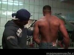 Super muscular black guy blows