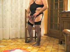 Chubby toy play dude in lingerie